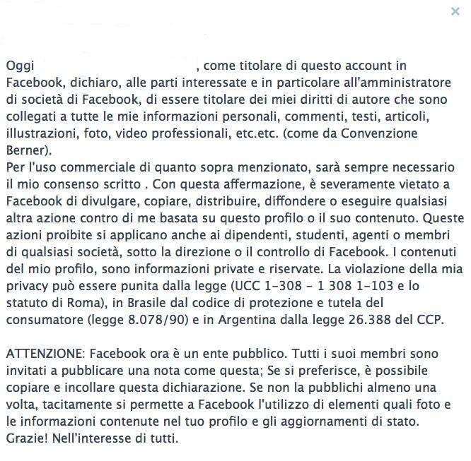 facebook bufala privacy