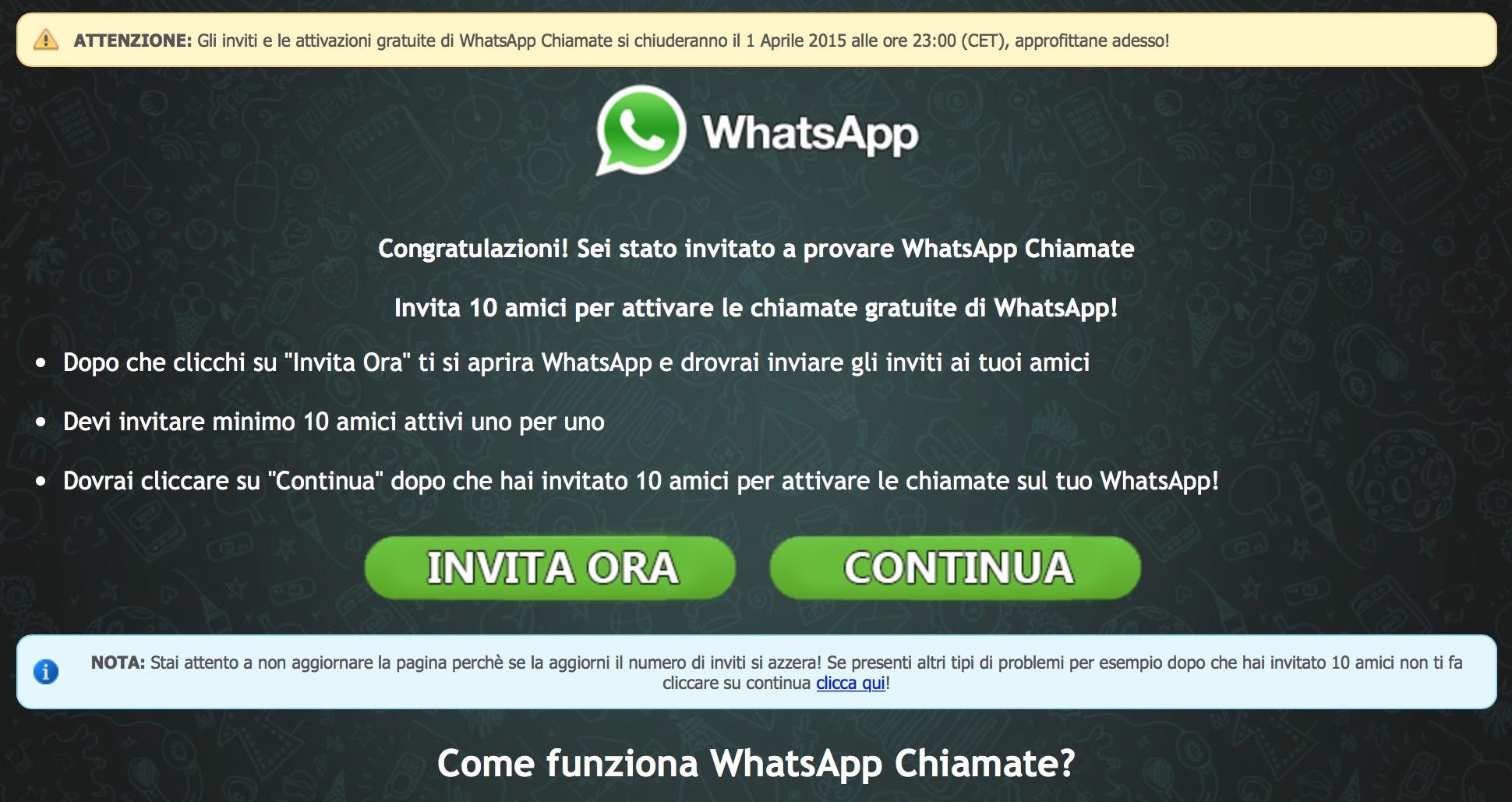 Whatsapp truffa chiamate gratis