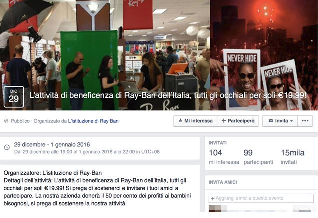 Nuova truffa su Facebook il virus degli occhiali Ray-Ban