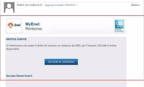 Truffa online, attenzione al finto rimborso Enel via email