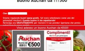 Finto buono spesa Auchan da 500 euro, pericolosa truffa via email