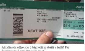 Alitalia regala i biglietti aerei: ma è una bufala via Facebook