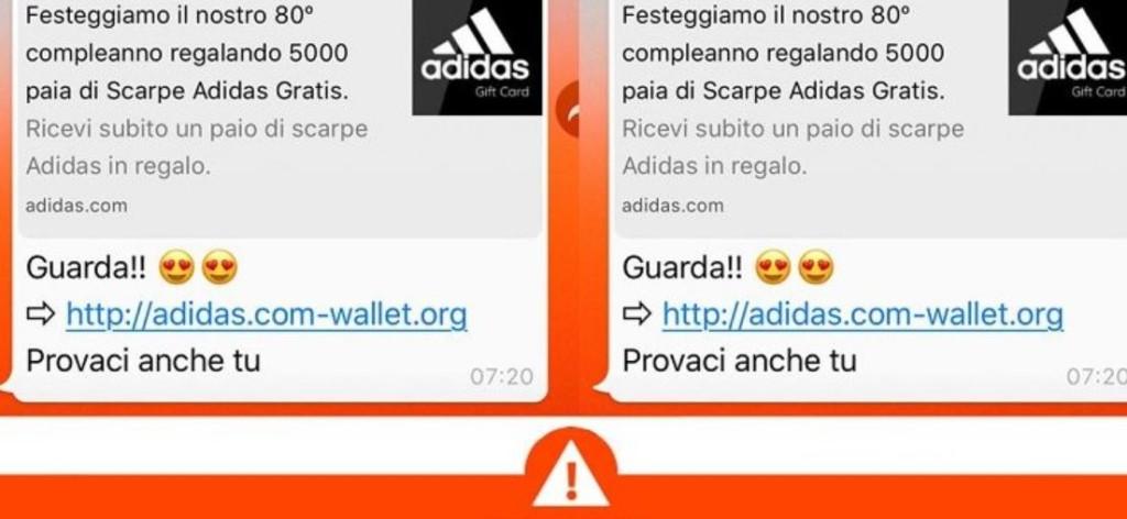 truffa via whatsapp finto messaggio