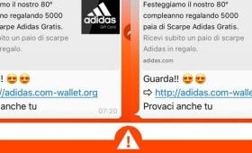 Nuova truffa via Whatsapp: finto messaggio Adidas, i rischi